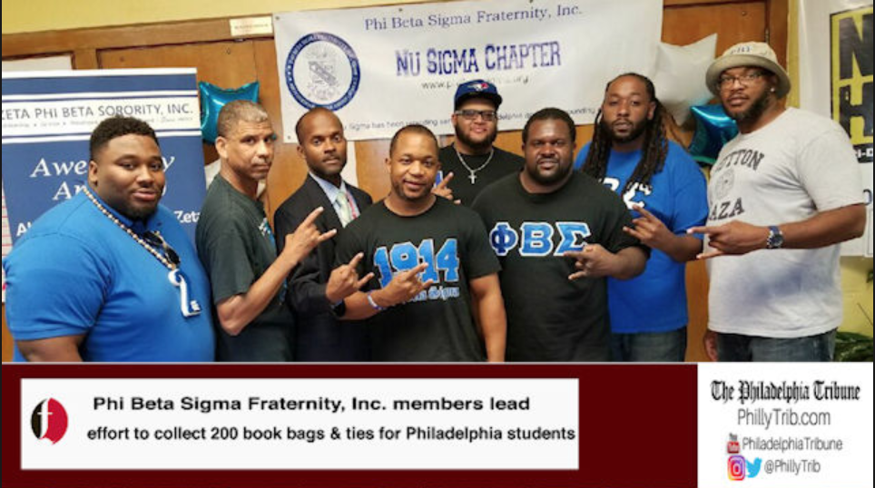 09/19/17: Philly Sigmas collect 200 book bags and ties for students